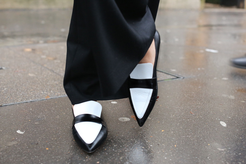 celine white pointy loafers