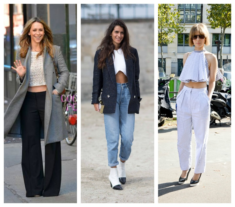 how to style crop tops with pants
