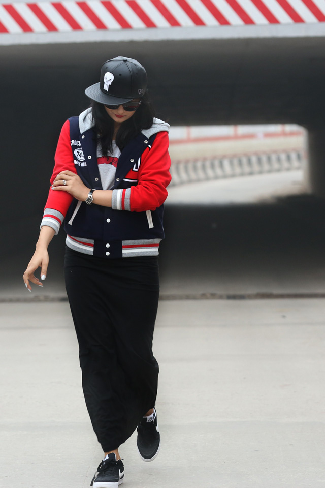 red varsity jacket outfit