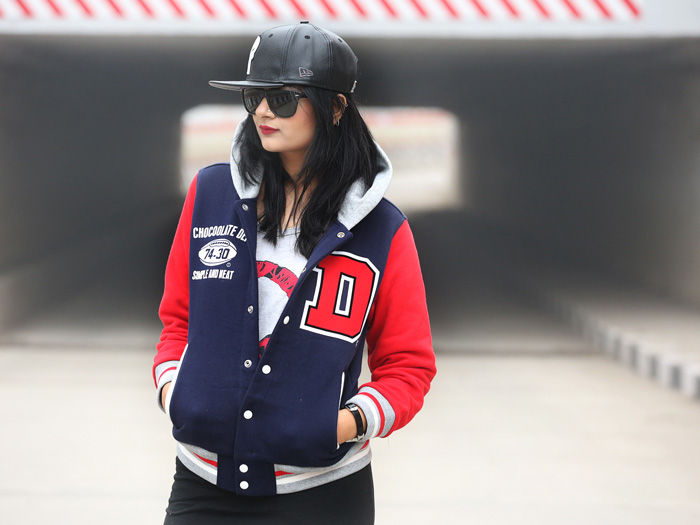 varsity jacket street style