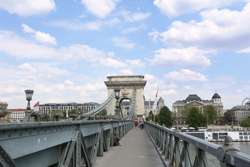 Walking on the chain bridge