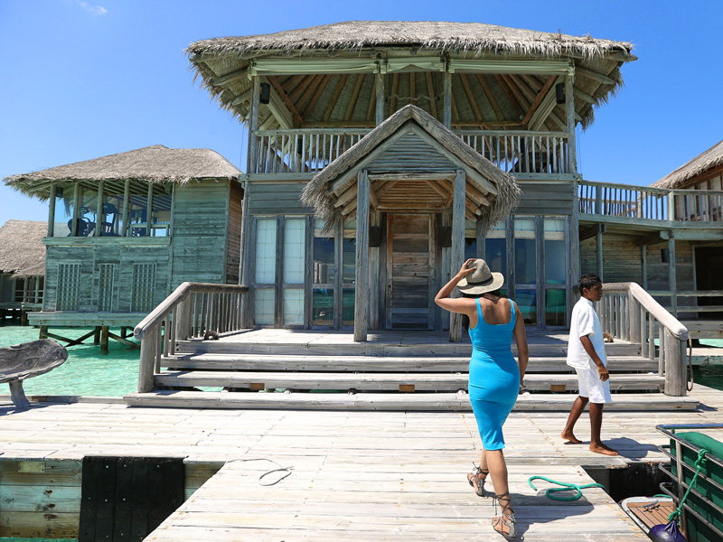 Mr Friday showing us the biggest overwater villa in the world