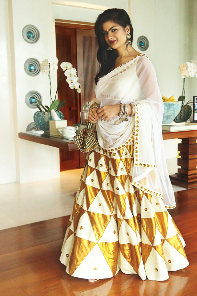 indian designer white gold lehenga