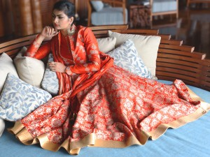 orange rohit bal anarkali