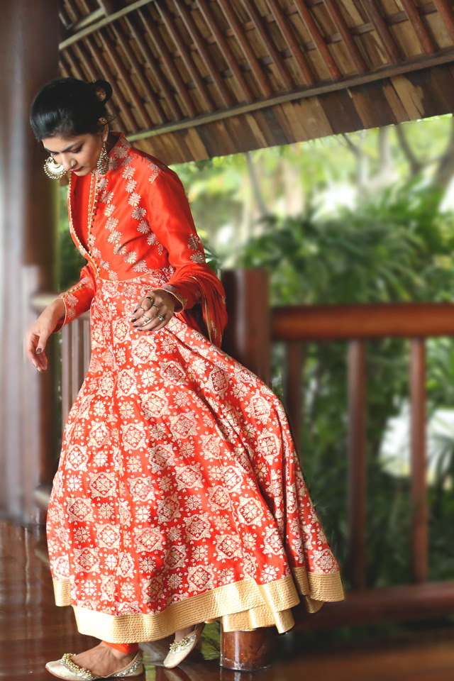 Rohit bal anarkali orange