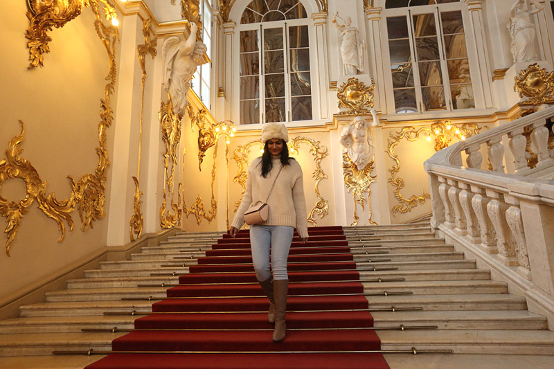 walking down the royal staircase