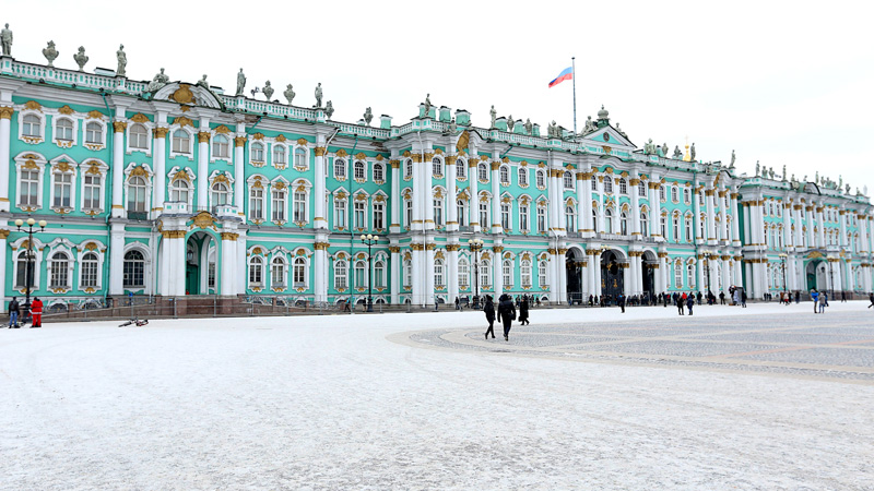 the grand view of the hermitage...and that snow carpet!