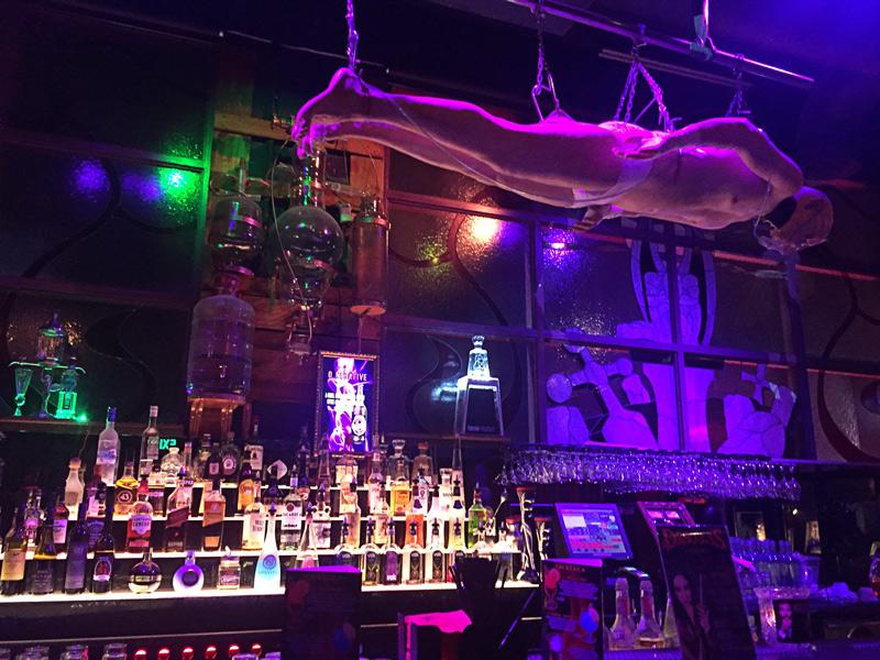 the hanging dead man on the bar : |  Dracula Show