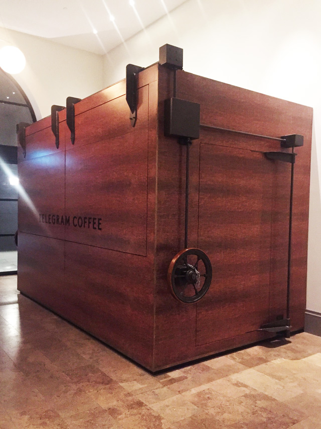 time for coffee at telegram. Luke  Arnold opens Telegram Coffee every morning using an antique 135-year-old dumb waiter crank wheel, salvaged from the Old Treasury building.