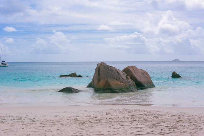 Praslin with its gorgeous powdery sand and crystal clear ocean